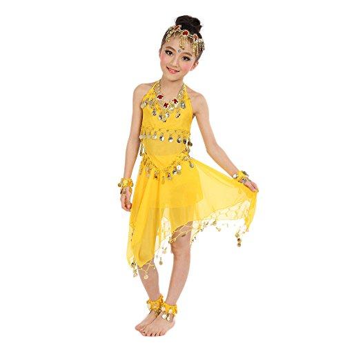 Amphia - Mädchen tanzen Bauchtanz-Anzüge (ohne Schleier und Accessoires) - Handgemachte Kinder Mädchen Bauchtanz Kostüme Kinder Bauchtanz Ägypten Tanz Tuch (Tanzen Kostüm Kinder)