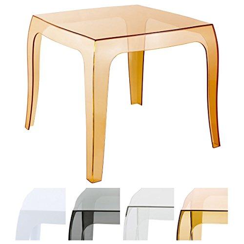 CLP Table Design Queen en Plastique I Table d'Appoint Carrée Table d'Extérieur Empilable et Résistante aux Intempéries I Couleur: Ambre
