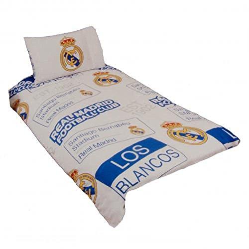 Bettwäsche FC Real Madrid Offizielles Produkt Einzelbett Bettdecke & Kissen Bezug Streifen Wappen Neu (Wappen Bettdecke)