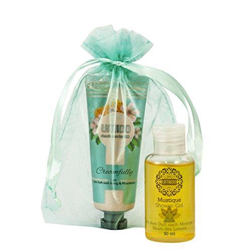 UMIDO Beautyset Hand-Creme 45 ml Honig-Pfirsichblüte & Duschgel 50 ml Moringa + Organza-Säckchen (6.) - Mint Hand Lotion
