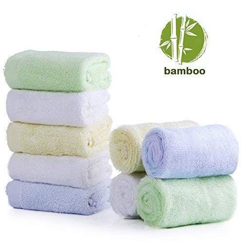 Baby Waschlappen, 100% Bio Bambus Baby Bad Waschlappen Gesichtstücher, weiche hypoallergen saugfähigen 10