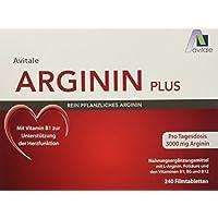 Preisvergleich für Avitale Arginin plus Tabletten mit 3000 mg rein pflanzlichem Arginin, Vitamin B1, B6, B12 und Folsäure, 240 Tabletten