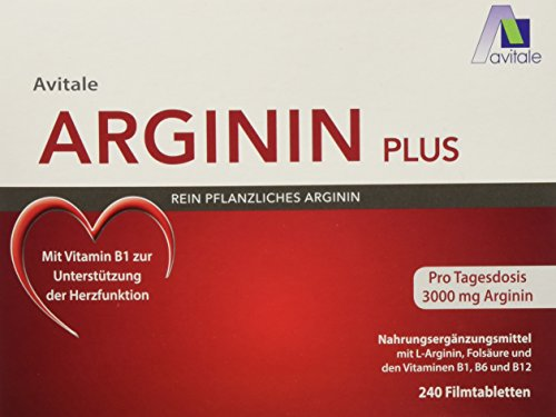 Folsäure B6 Vitamine (Avitale Arginin plus Tabletten mit 3000 mg rein pflanzlichem Arginin, Vitamin B1, B6, B12 und Folsäure, 240 Tabletten)