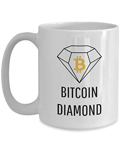 Official Bitcoin Diamond Cryptocurrency Big Mug Acrylic Coffee Holder White 11 oz Crypto Miner Blockchain Invest Trade Buy Sell Hold BCD (Travel Bcd)