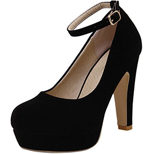 Oasap Damen Fashion Knöchelriemchen High Heel Pumps Black