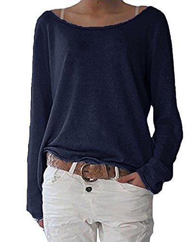 ZANZEA Damen Langarm Lose Bluse Hemd Shirt Oversize Sweatshirt Oberteil Tops Dunkelblau EU 44/Etikettgröße L
