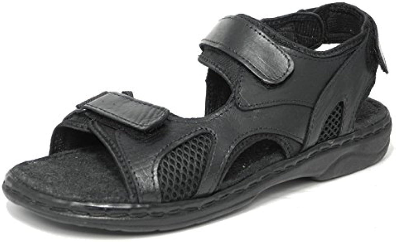 Herren  Leder  dreifach Klettverschluss öffnen Sommer Zehen Sandalen Schuhe oder Wandern  braun Größe 39 46  Schwarz