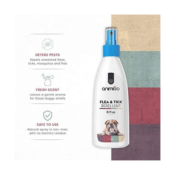 Animigo Flea & Tick Repellent for Dogs - Pest Protection Spray - Repels Parasites - For Fleas, Ticks, Flies & Mosquitos - With an Essential Oil Blend - Non-Toxic - Safe for Dogs - 175ml/6fl oz Spray 2