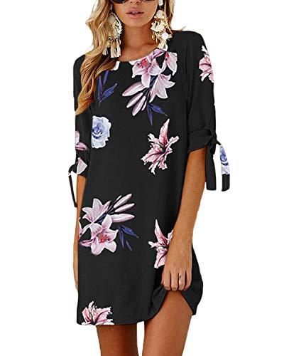 Yoins donna abito da cocktail girocollo manica corta vestito estivo tunica ampia con maniche corte e stampa bowknot delle donne camicetta lunga vestiti donna estivi dark blue-02 xxl