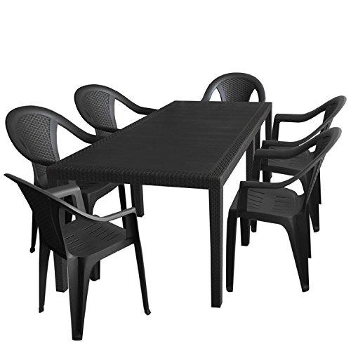 7tlg. Gartengarnitur Gartentisch, erweiterbar, 150/220x90cm + 6x Stapelstuhl, Rattan-Optik, Kunststoff, Anthrazit / Gartenmöbel Campingmöbel Set