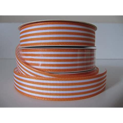 Ribbons_Direct Nastro a grana grossa, motivo a righe, larghezza 16 mm, lunghezza: 4,5 metri, colore: Arancione/Bianco