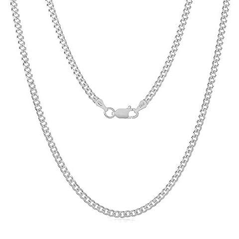 Chaîne de liaison en caoutchouc cubaine en argent massif fabriquée en italien de 2,8 mm. + polissage de bijoux