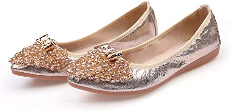 FLYRCX  Zapatos Planos de Diamantes de imitación Puntiagudos Damas Zapatos de Ballet Zapatos de Maternidad Zapatos... -