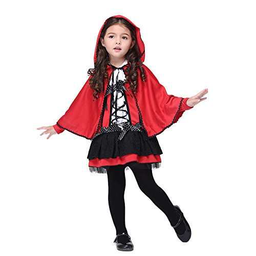 Feicuan Mädchen Hooded Cape Halloween Little Devil Kostüm Bowknot Cosplay Kleid (Red Hood Girl Kostüm)