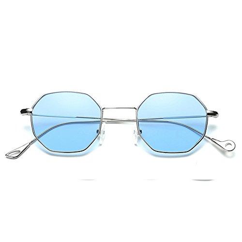 Kafe Sonnenbrillen , Loveso Unisex Beliebte Klassische Unregelmäßige Octagon Metallrahmen Sonnenbrille (10 Farben zu wählen) (Blau)