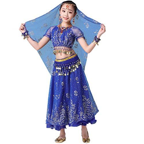 Kostüm Tanz Jungen Indischer - Magogo Mädchen Bauchtanz Kleid Bollywood Indian Folk Kids Arabian Performance Kostüm Karneval Outfit (105-130cm/41-51in, Dunkelblau)