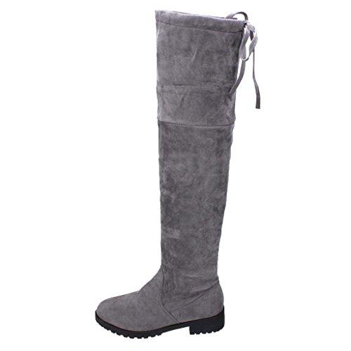 Damen Langschaft Stiefel Elegant Boots - Juleya Casual Reitstiefel Winter Overknee Stiefel Knie Elastische Boot Flache Schuhe (Flache Leder Knie Boot)
