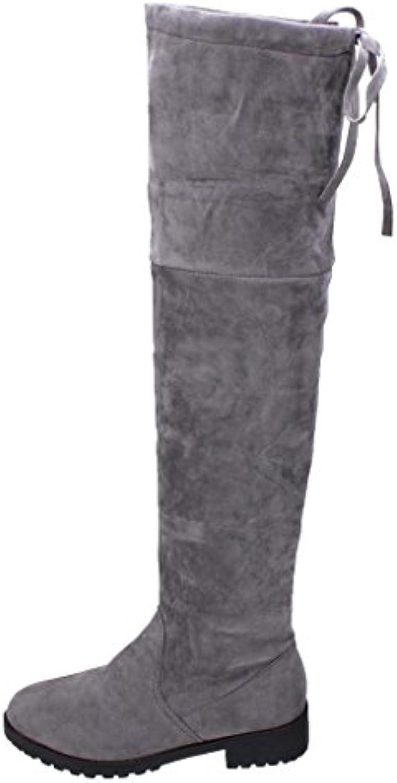 e5b6584ed56b26 woHommes 's knee des bottes hautes hibote plus longues bottes bottes bottes  mode automne hiver gris / noir b075k56xvj bottes parent   Pour Gagner  L'éloge ...