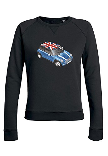 ul14 Sweat pour femmes Trips Mini Cooper with Great Britain Flag Black