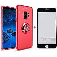 SHYHONG Kompatibel Samsung Galaxy S9 Plus Hülle+5D gehärtetem Glas Soft Silikon TPU Handyhülle mit 360°drehbarer Fingerhalter und Magnetic Metall Blech Anti-Shock Bumper Cover(Rot+Rot)