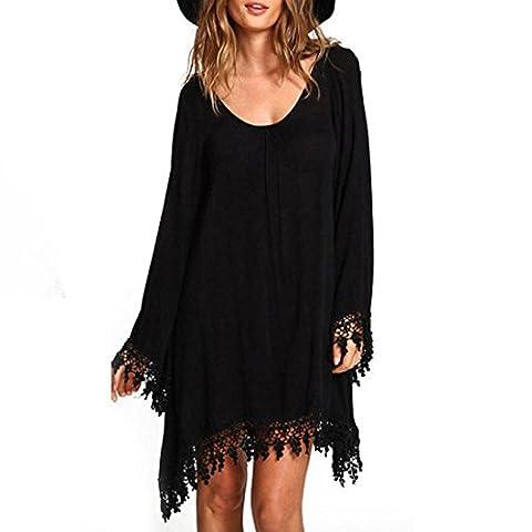 Reaso Femmes Manche longue En vrac Tassels Dentelle MIni Robe de Casual Manteau Dress (Asie L, Noir)