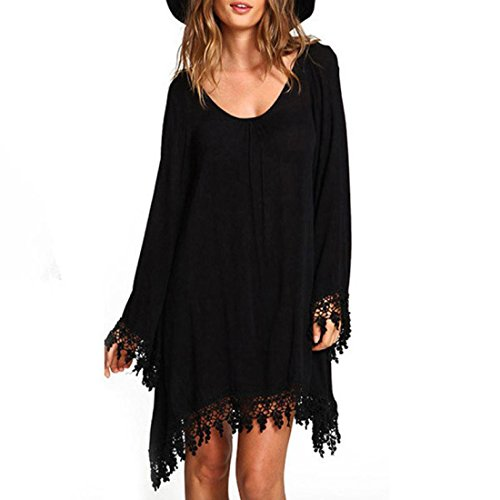 Reaso Femmes Manche longue En vrac Tassels Dentelle MIni Robe de Casual Manteau Dress (Asie M, Noir)