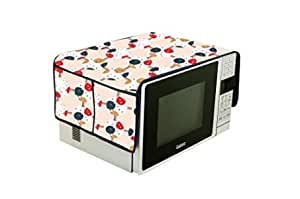 Visnik PVC Printed Microwave Oven Top Cover with Pockets (Flower)