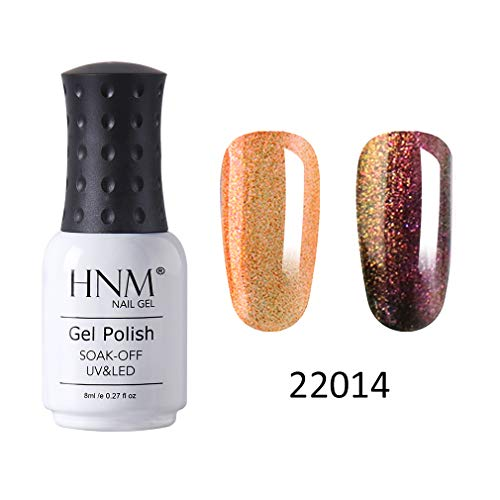 HNM Vernis Semi-Permanent Chameleon Gel de Couleur Changeante Vernis à Ongles Nail Art Manucure Salon 8ML HNM-22014