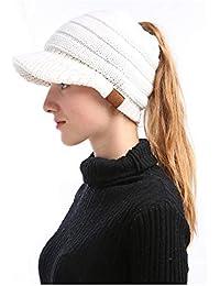 Umily Mujer Gorros con Coleta - Caliente Gorro de Punto de Invierno y el  Agujero - Sombreros de Invierno Knit… 95e7b502d69