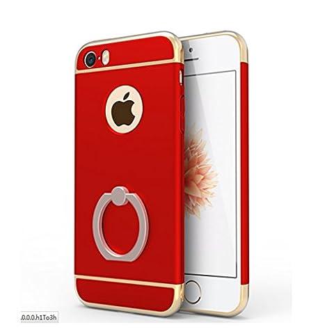 Coque iPhone SE/5/5s, Yoowei Electroplate Plating 3 In 1 Hybrid Dur PC Étui avec 360 Degrés de Rotation Support de la Bague Housse de Protection Electro Placage Protecteur Bumper cover pour iPhone SE/5/5s, Rouge