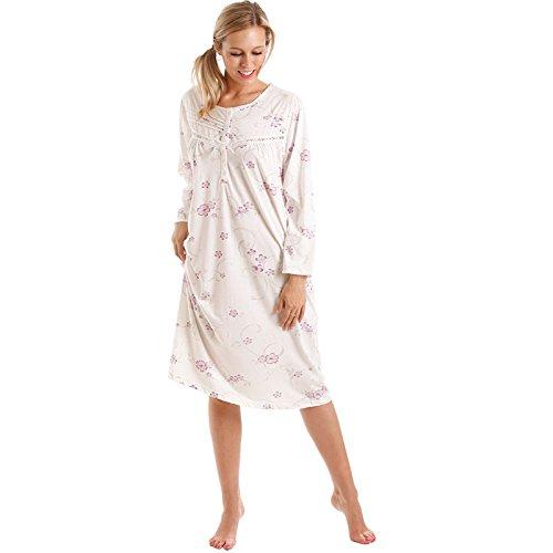 Lady OLGA Donna Camicia da notte donna MOTIVO FLOREALE lungo manica camicie camicia da notte 10-36 8904 Viola