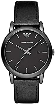 Emporio Armani Men's Black Dial Leather Band Watch - AR