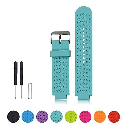 Cyeeson Uhr Band für Garmin Forerunner 220/230/235/630/620/735XT GPS Running Watch Replacement Armband Weiche Silikon dustable Band Gel Wristband Strap (Teal Garmin-uhr)