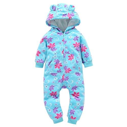 BURFLY Kinderkleidung ♥♥Baby Langarm verdickter Reißverschluss Siamese Blumen gedruckte Jeans, Kapuzenjacke Overall Outfit Kid Clothes (24 Monate, Blau) (Baumwollsamt Gedruckt)