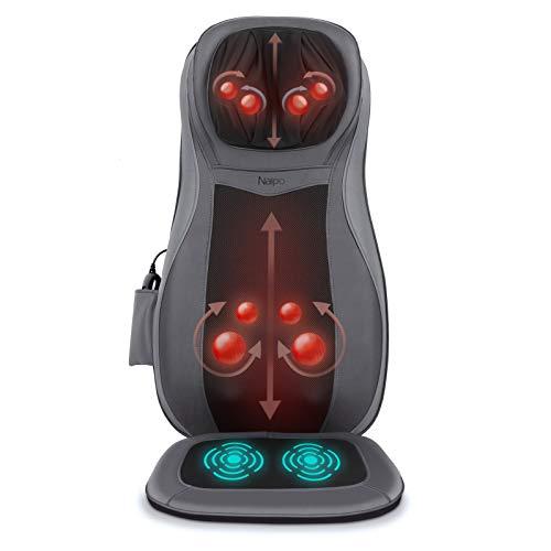 Naipo Massagesitzauflage Rückenmassagegerät mit drei Massagezonen Wärmefunktion und Shiatsu Vibrationmassage Tiefenmassage Rollmassage für Nacken Rücken Gesäß für Haus Büro Auto