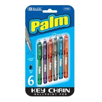 6 Pk, Bazic Palm Key Chain Mini Ballpoint Pen, 6 Per Pack (Total of 36 Pens) by Bazic Products