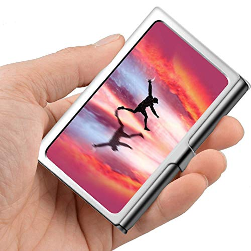 Professionelle Visitenkarte, Brieftasche aus Edelstahl Kreditkarteninhaber ID Kartenhalter Moon Catcher
