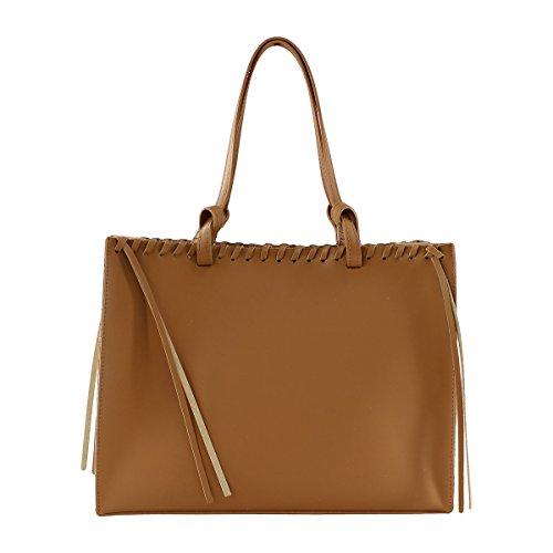 CTM Sac à main pour femme, avec sac dans l'interieur amovible, en cuir veritable fait en Italie, couvert en liege - 38x30x15 Cm