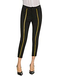 1e56696b8cc2 Finejo Damen Reine Farbe Straight Nine Hosen Hosen Hohe Taille mit Gürtel  Anzughose Herbst Lässig Lose Hosen mit Taschen Sport…