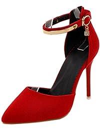 COOLCEPT Mujer Moda D-Orsay Sandalias Zapatos Correa de Tobillo Tacon de Aguja Zapatos para Senora