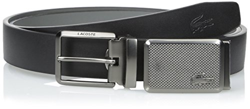 634120175cf2bb Lacoste 0886619894625 Mens Premium Leather Belt With Interchangeable Metal  Plate Buckles Set Black Grey 85 Mens Accessories- Price in India