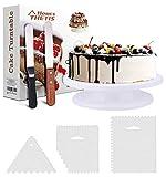 THETIS Soporte de Decoración de Pasteles Torta Giratoria Soporte de Placa - Cake Turntable Stand - 11 Inch 2pcs Espátulas de Formación de Hielo con Lados y Ángulos y 3pcs Niveladores de Torta