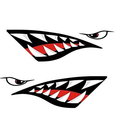 NAKELUCY Auto Aufkleber Roter Hai Mund Zähne DIY Lustige Rudern Kajak Boot Zubehör Mund Aufkleber Vinyl Aufkleber Aufkleber Für Aufkleber Links Rechts, 2 Stücke