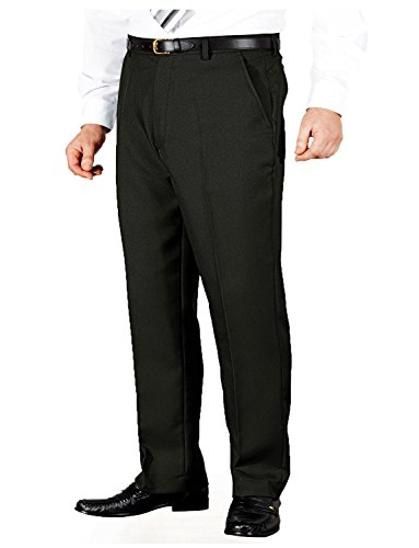 Mens Stretch Waist Formal Smart Work Trousers Black 34W x 31L