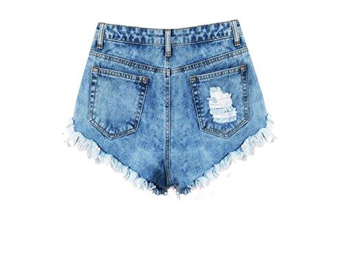 Damen Vintage Freizeit Denim Loch Quaste Kurz Jeans Hot Pants Hohe Taille Jeans Shorts Unregelmäßigen Denim Destroy Shorts Hellblau