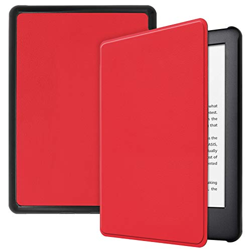 Lobwerk Hülle für Amazon Kindle 2019 (10. Generation) 6 Zoll Smart Cover Etui mit Standfunktion und Auto Sleep/Wake Funktion Rot
