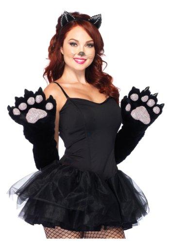 Länge Ellenbogen Schwarz Handschuhe (Leg Avenue 2661 - Furry Cat Paw Ellenbogen länge Handschuhe, Einheitsgröße,)