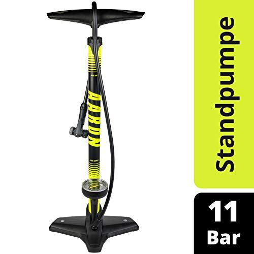 Aaron Sport One hochwertige Fahrrad Standpumpe mit Manometer für alle Ventile, Hochdruck Fahrradpumpe Rennrad, Luftpumpe, Pumpe mit Ball Aufsatz, Gelb