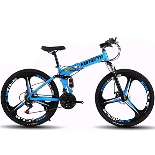 WJSW Mountainbike 24 Speed   Stahlrahmen 26 Zoll Räder Klapp Stadt Rennrad Für Erwachsene (Farbe: Blau)