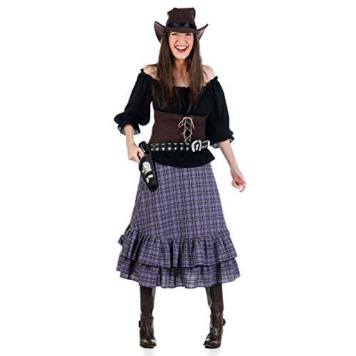 Kostüm Frauen Cowboy - Cowboy Cowgirl Wilder Westen Kostüm Damen 4tlg. Bluse, Rock, Mieder, Hut - S